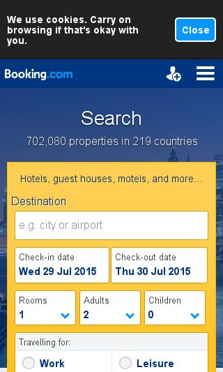 Mobile preview of booking.com