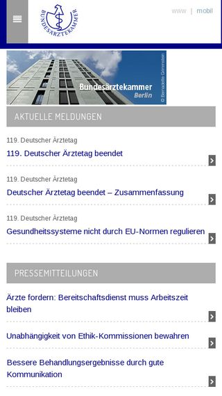 Mobile preview of bundesaerztekammer.de