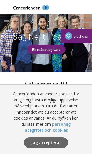 Mobile preview of cancerfonden.se