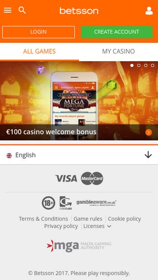 Mobile preview of casino.betsson.com