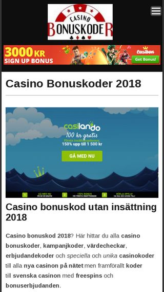 Mobile preview of casinobonuskoder.se
