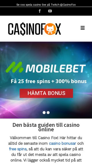 Mobile preview of casinofox.se