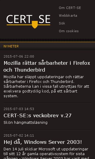 Mobile preview of msb.se