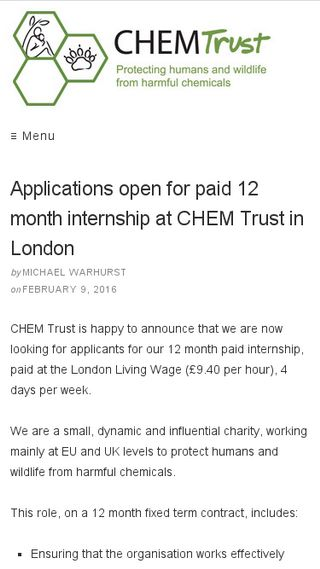 Mobile preview of chemtrust.org.uk