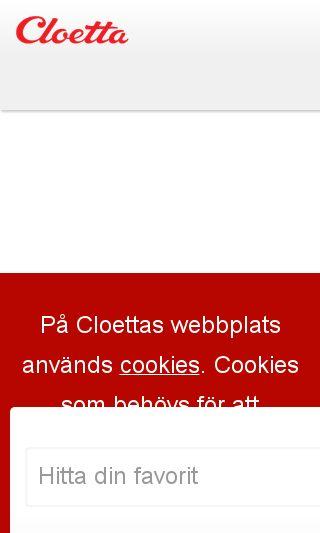 Mobile preview of cloetta.se