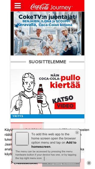 Mobile preview of coca-cola.fi