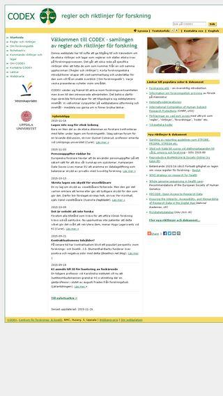 Mobile preview of codex.vr.se