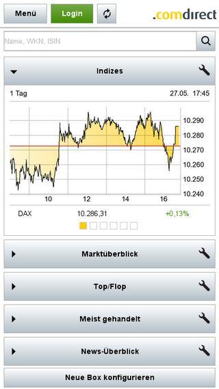 Mobile preview of comdirect.de