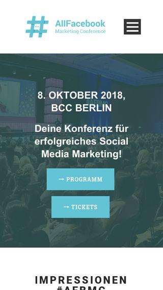 Mobile preview of conference.allfacebook.de