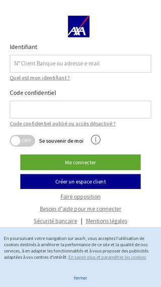 Mobile preview of connect.axa.fr