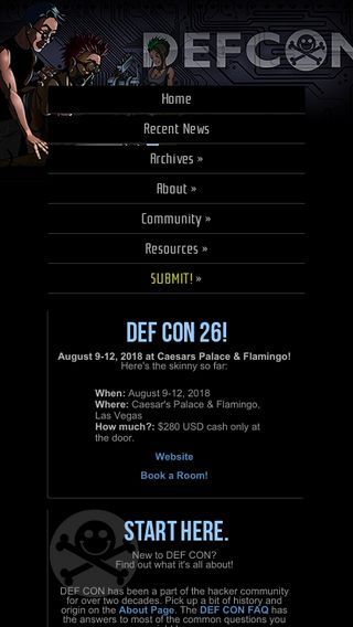 Mobile preview of defcon.org