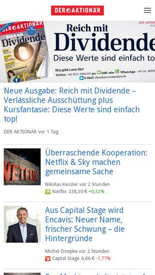 Mobile preview of deraktionaer.de