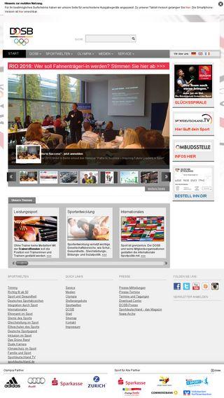 Mobile preview of dosb.de