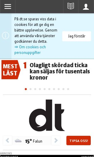 Mobile preview of dt.se