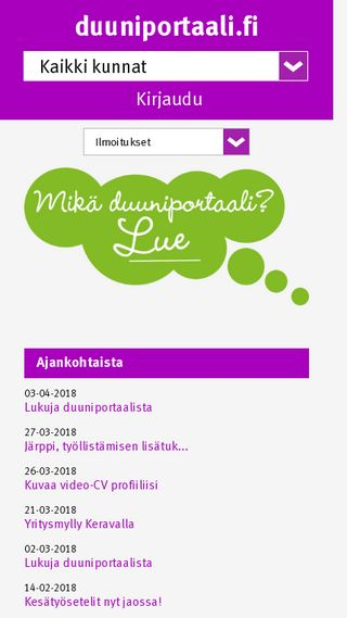 Mobile preview of duuniportaali.fi