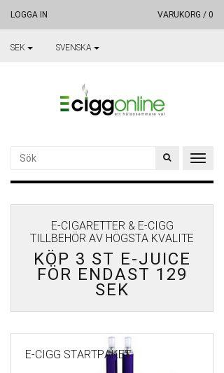 Mobile preview of eciggonline.se