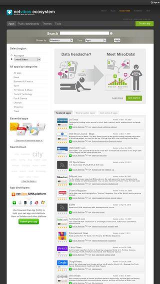 Mobile preview of eco.netvibes.com