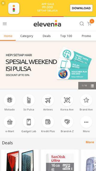 Mobile preview of elevenia.co.id