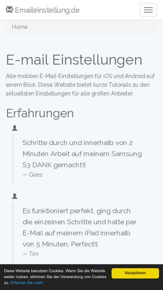 Mobile preview of emaileinstellung.de