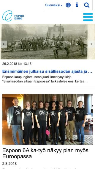 Mobile preview of espoo.fi