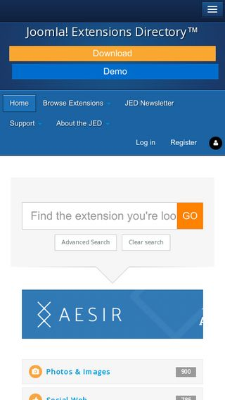 Mobile preview of extensions.joomla.org