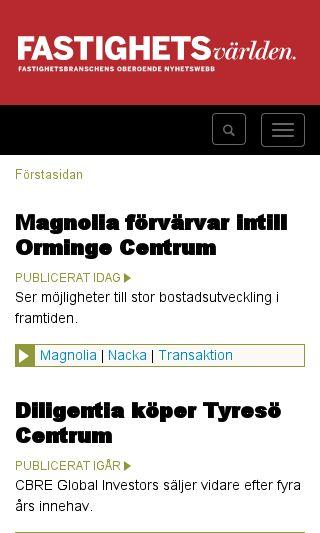 Mobile preview of fastighetsvarlden.se