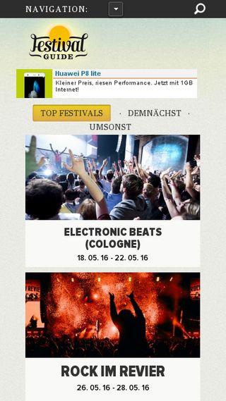 Mobile preview of festivalguide.de