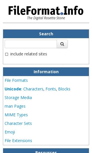 Mobile preview of fileformat.info