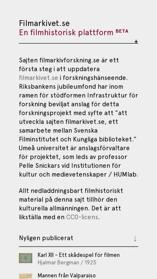 Mobile preview of filmarkivforskning.se