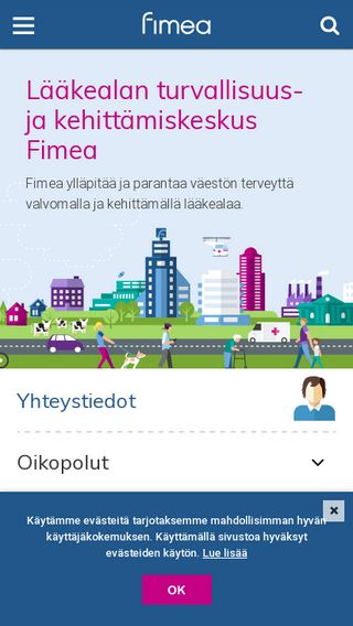 Mobile preview of fimea.fi