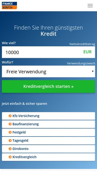 Mobile preview of financescout24.de