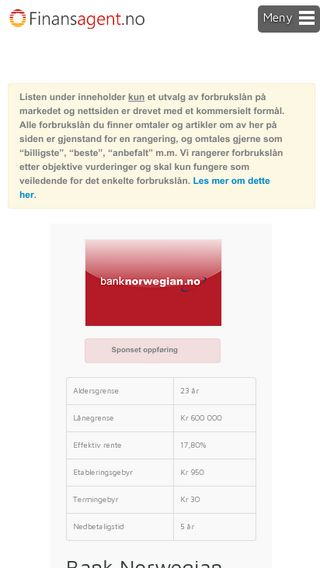 Mobile preview of finansagent.no