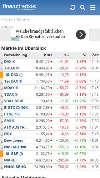 Mobile preview of finanztreff.de
