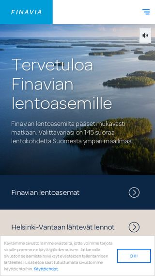 Mobile preview of finavia.fi