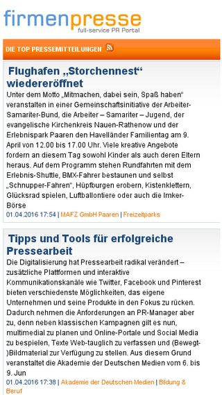 Mobile preview of firmenpresse.de