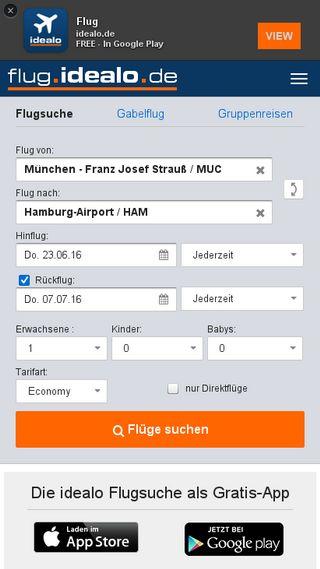 Mobile preview of flug.idealo.de