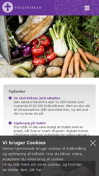 Mobile preview of folkekirken.dk