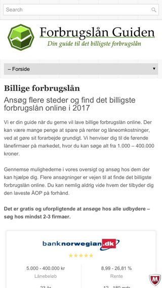 Mobile preview of forbrugslan-guiden.dk