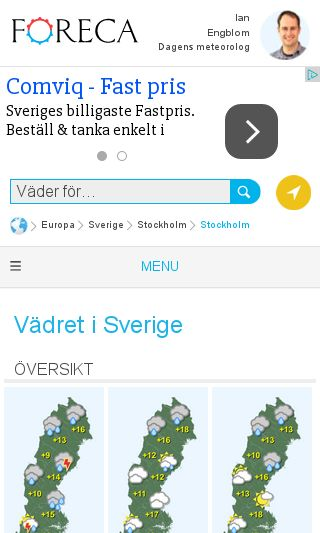 Mobile preview of foreca.se