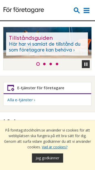 Mobile preview of foretag.stockholm.se