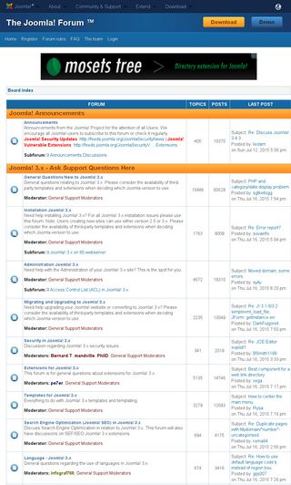 Mobile preview of forum.joomla.org