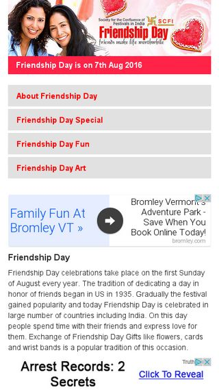 Mobile preview of friendshipday.org
