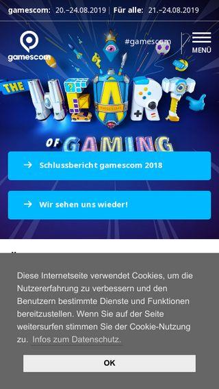 Mobile preview of gamescom.de