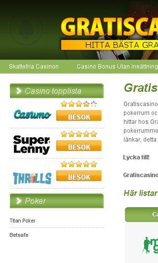 Mobile preview of gratiscasino.se