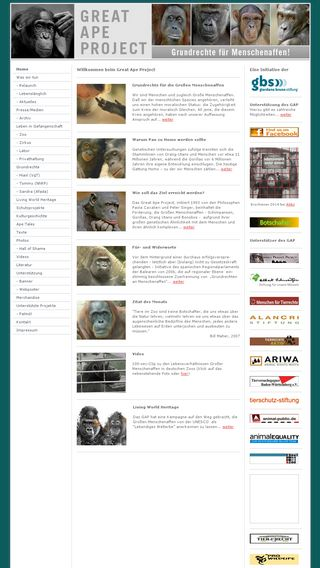 Mobile preview of greatapeproject.de