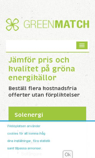 Mobile preview of greenmatch.se