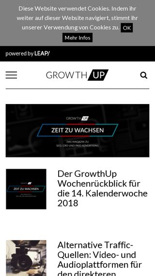 Mobile preview of growthup.de