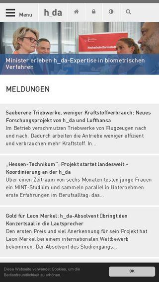 Mobile preview of h-da.de