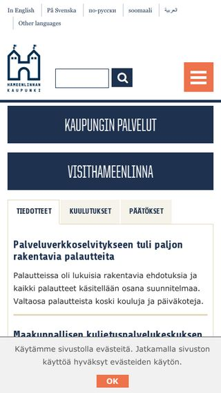Mobile preview of hameenlinna.fi