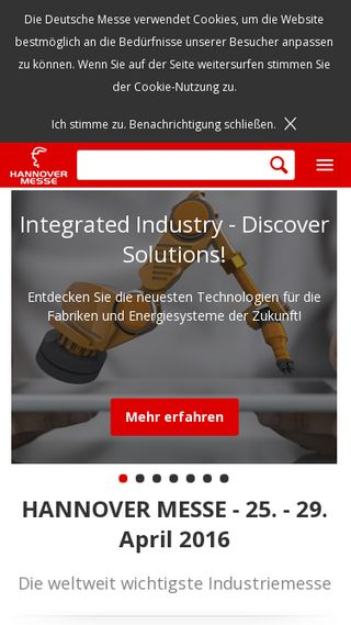 Mobile preview of hannovermesse.de